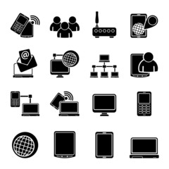 Silhouette Communication and technology equipment icons