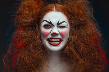 Crazy female clown portrait