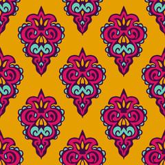 Damask vector festive yellow pattern