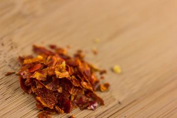 Chili Flakes on Wood