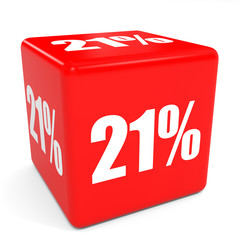 3D red sale cube. 21 percent discount.