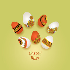 Easter Eggs in ethnic style on green