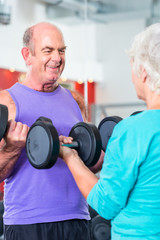Senior Paar mit Hanteln bei Fitness Sport