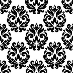 Classic black floral damask seamless pattern