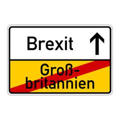 ortsschild grossbritannien brexit I