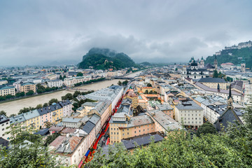 Salzburg seen from Monchsberg, Austria