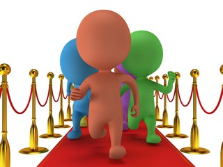 People run on red event carpet with golden rope barriers