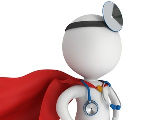 Super Doctor with a stethoscope and mirror.