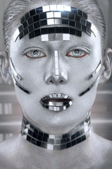 Creative silver makeup with mirror shatters