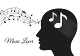music from brain white, music notes, music lover, music vector