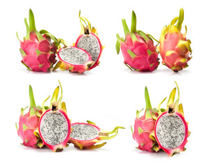 composite of dragon fruit  isolated on white background