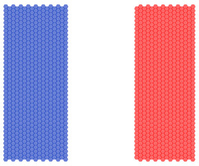 Illustration French national flag nation people octagon concept