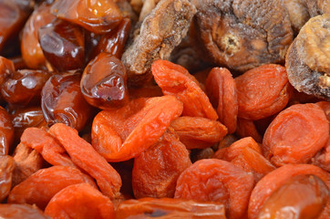 Dried pitted apricot and fig, close up