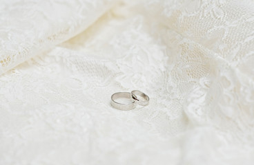 Wedding rings on lace background