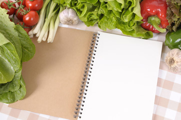 Salad with open notebook