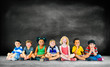 Leinwanddruck Bild - Kids Children Diversity Happiness Group Education Concept