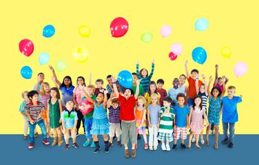 Multiethnic Children Smiling Happiness Friends Balloon Concept