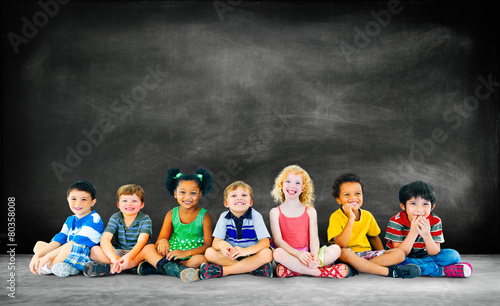 Leinwanddruck Bild Kids Children Diversity Happiness Group Education Concept