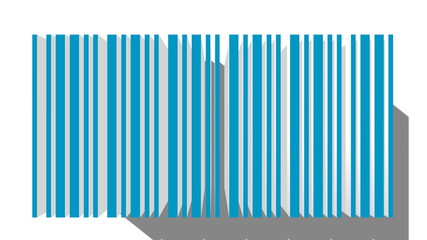 camera zoom on blue 3d barcode model