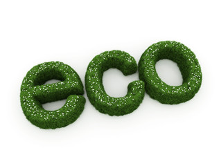 Eco word with vegetation growth
