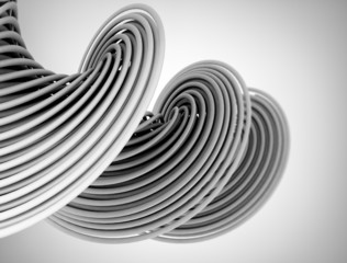 Abstract glossy twisted wires