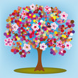 Cartoon blossoming colorful tree