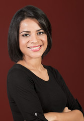 beautiful Young latin woman with short hair, smiling