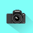 photo camera icon flat design vector - 80360497