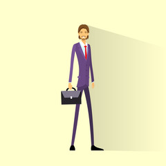 Businessman smile hold briefcase, full length business man flat