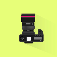 photo camera top view icon flat design vector