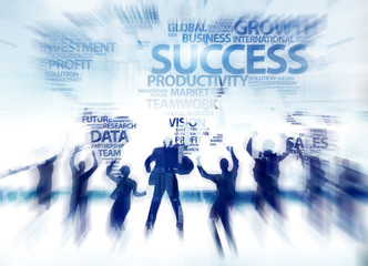 Business People Success Achievement Celebration Global Happiness