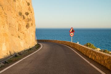 Narrow coastal road