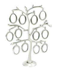 Isolated silver floral tree with leaves and oval frames for your