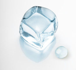 Ice cube and water drop