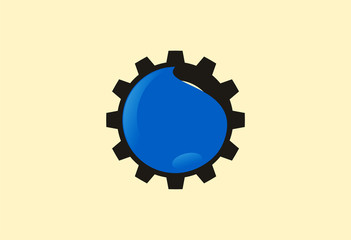 Gear water logo vector
