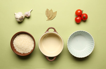 Food ingredients and kitchen utensils for cooking