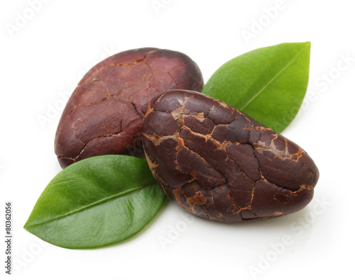 Canvas Aromatische Cacao beans isolated