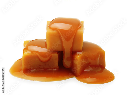 Fotobehang Dessert Caramel toffee and sauce isolated