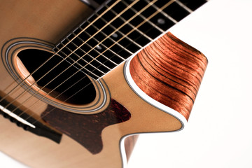 Guitar Close Up Against White Background