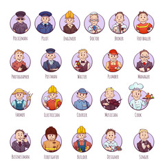 Vector set of business people, such as policeman, doctor, worker
