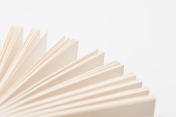 Open book pages in white background.