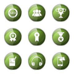 SEO Internet Sign Green Vector Button Icon Design Set 9