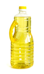 bottle of vegetable oil on a white background