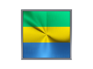 Square metal button with flag of gabon