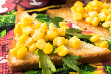 Tapas with sweet corn