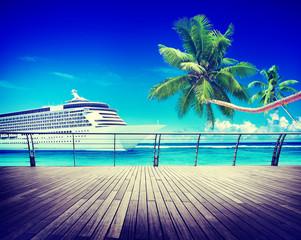 Summer Seascape Skylline Cruise Sea Route Destination Concept