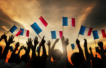 Group of People Waving French Flags Concept