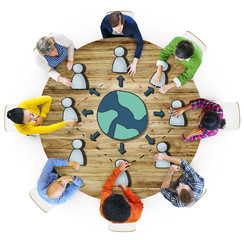 Aerial View Diverse People Working Global Connection Concept