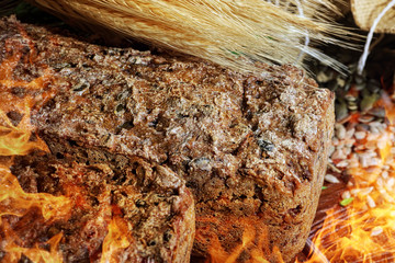 Appetizing homemade bread made in the oven