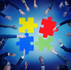 Jigsaw Puzzle Support Team Coopeartion Togetherness Concept